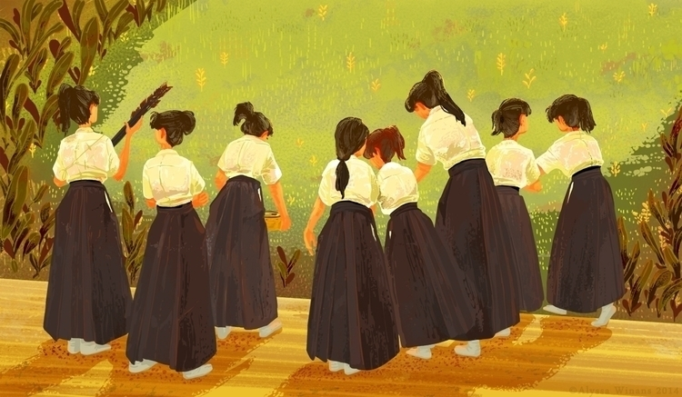 Hakama Girls - illustration, japan - awinans | ello