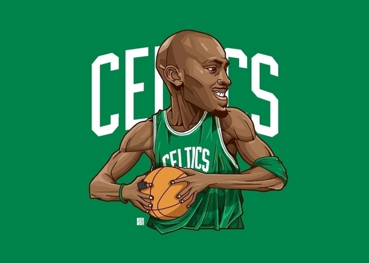 Kevin Garnett - illustration, nba - rojo-2422 | ello