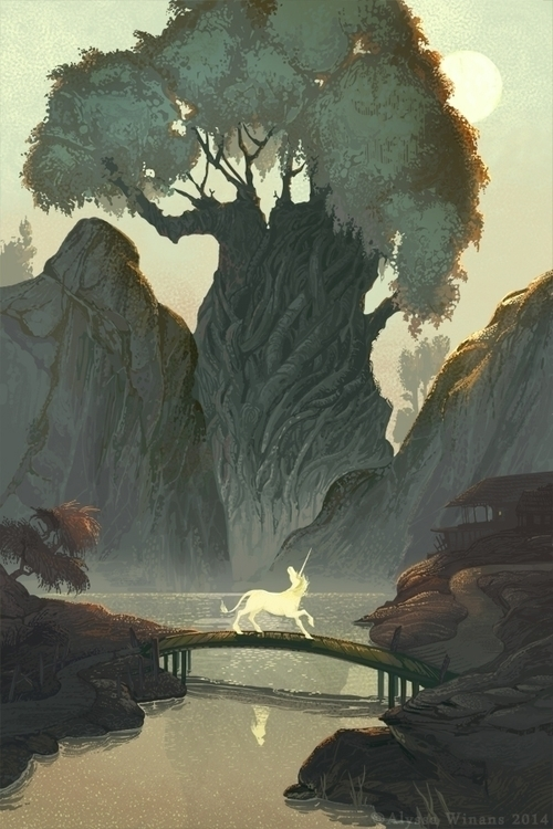 Road - illustration, fantasy, unicorn - awinans | ello