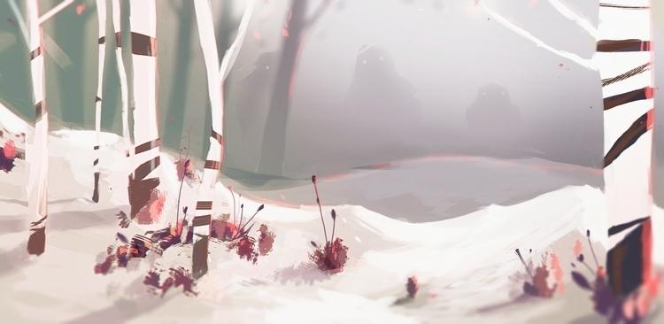 Winter Monsters - winter, illustration - cajva | ello