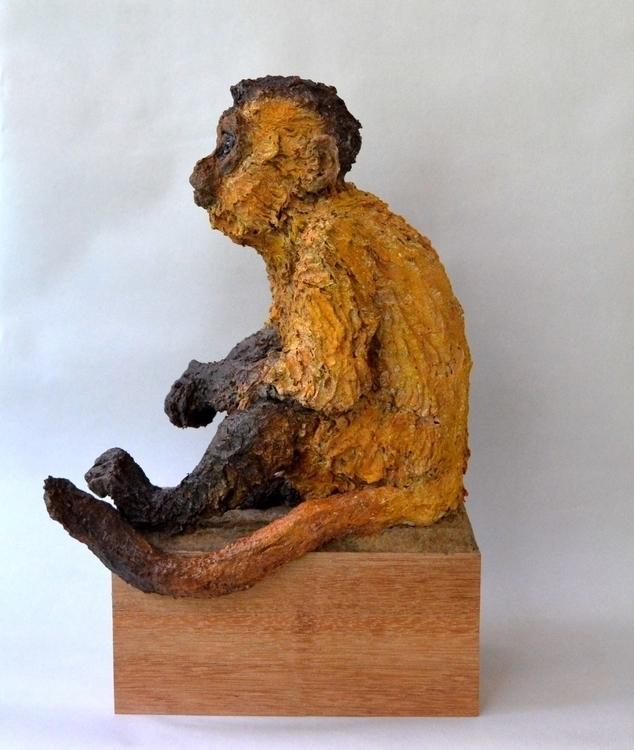 CAPUCHIN MONKEY MACACO PREGO - sculpture,animals,3dart,recycledart,monkey,capuchinmonkey,cardboardpaper, - barakesculptor | ello