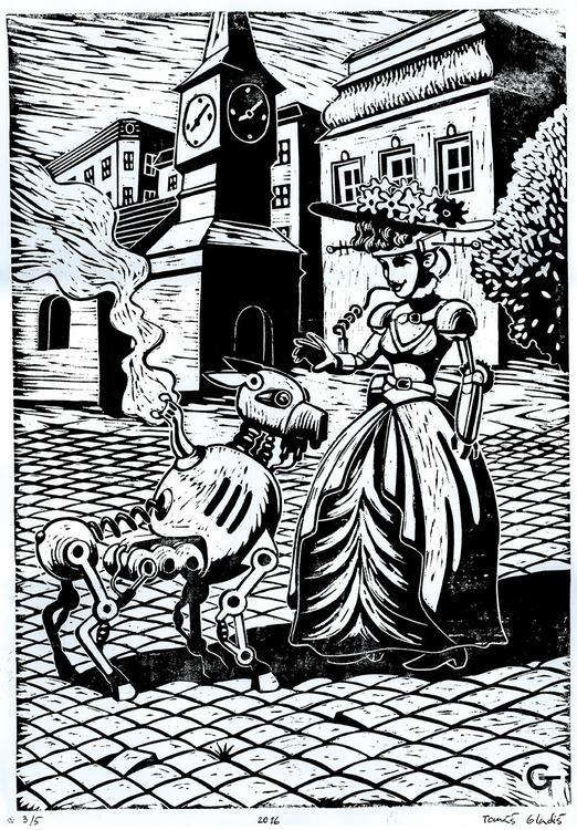 Lady dog - linocut, lady, steampunk - gladtom | ello
