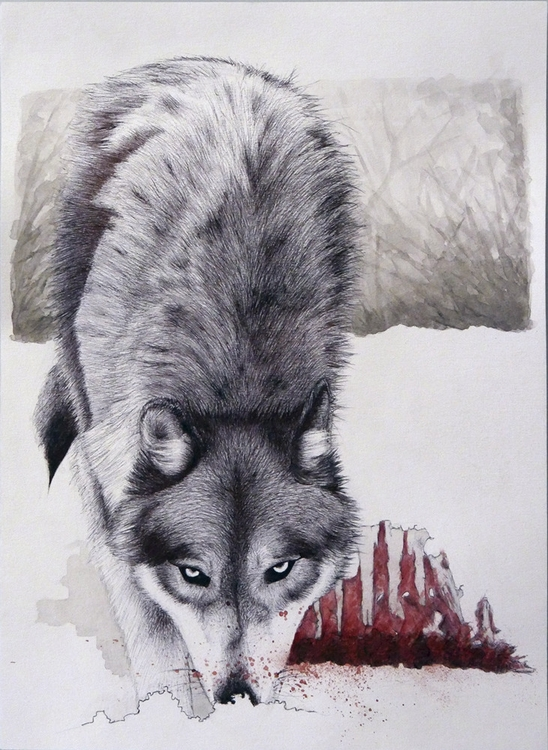 Hunting - wolf, snow, watercolour - ruwett | ello