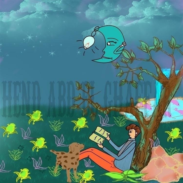 night reading dog moon - illustration - hendabdelghaffar   ello
