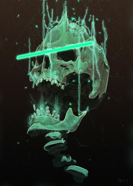 Green skull - illustration - lpetty | ello