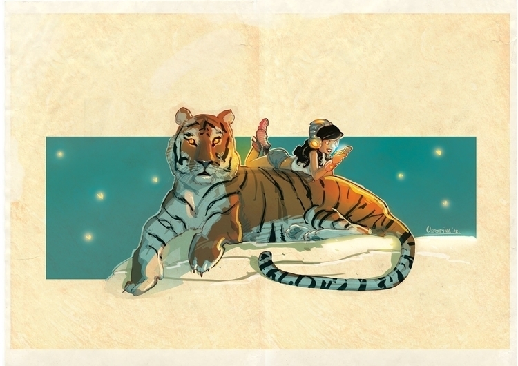 girl tiger - headphones, characters - jovanukropina | ello