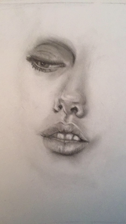 Fade - drawing, face, Lips, pencil - katiecorley14 | ello