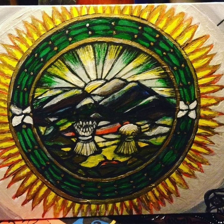 great seal State Ohio - #mycurrentpainting#sealofthestate#ohio#ohiostate#acryliconcanvas#acrylic#gold#green#sunrise#availablenow - khesspowell | ello
