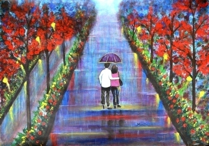 Love Blossoms. Romantic paintin - artbymanjiri | ello