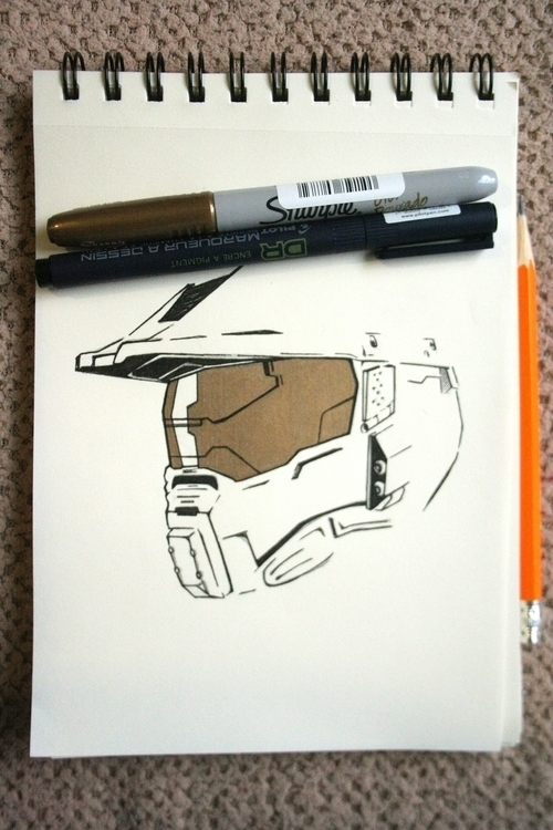 Master Chief Golden Ink - gameart - serranov | ello