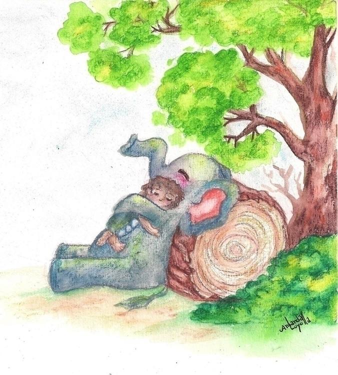 elephant, marfim, watercolor - amandaloyolla | ello