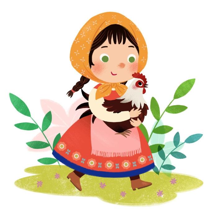 Girl chicken - children'sillustration - kiwiwudraw | ello