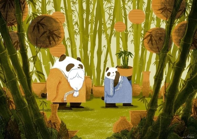 garden - illustration, panda, animals - fanwu | ello