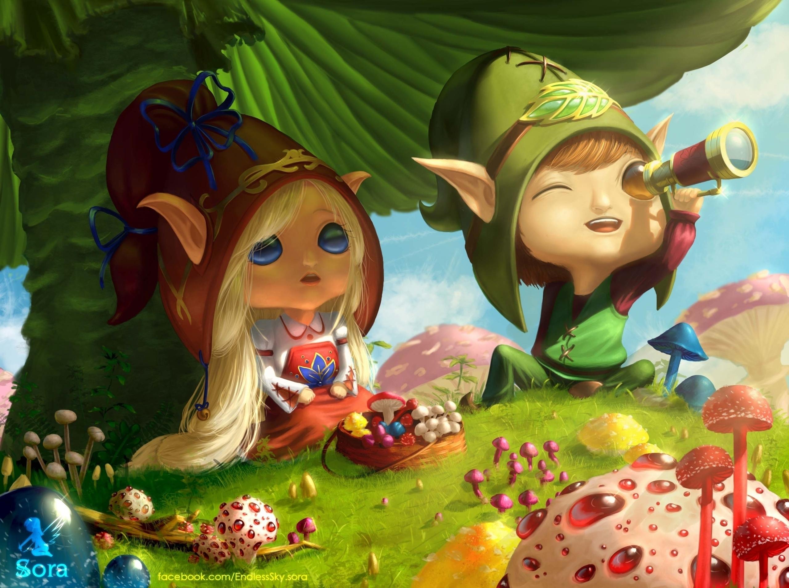 Hey - illustration, painting, mushrooms - anasora | ello