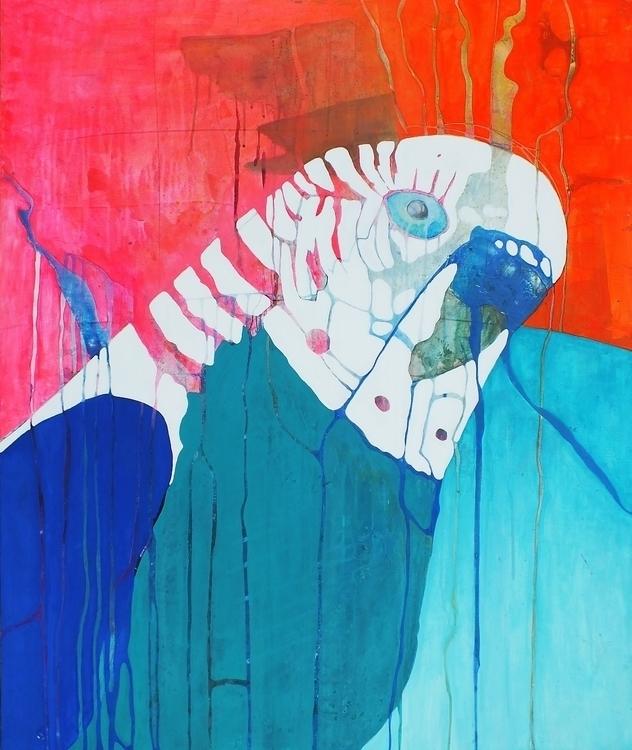 Budgie - bird, budgie, acrylic, painting - janickejohansen | ello