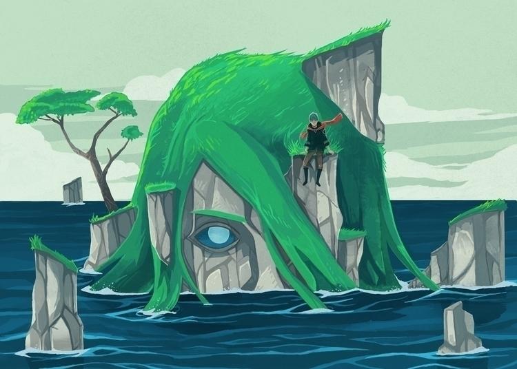 wanderer, island, sea, rocks - renonogaj | ello