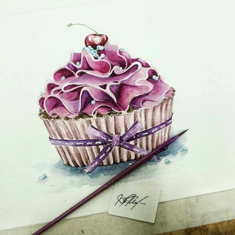 Cupcake - illustration, painting - t_malyshko_t | ello