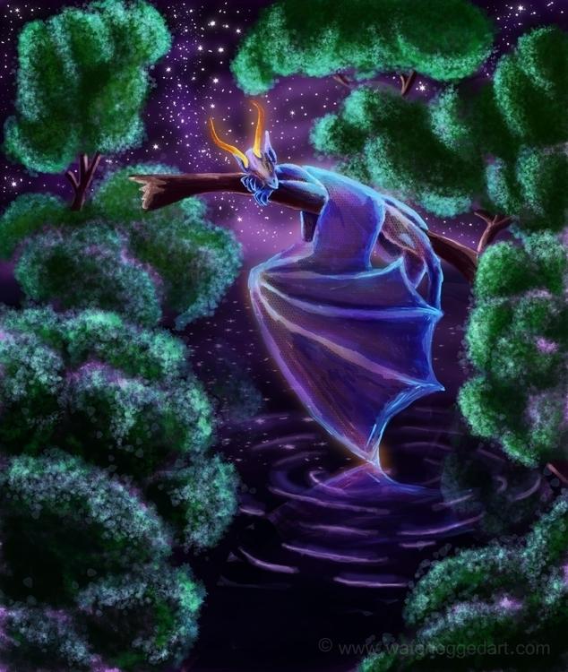 dragon, night, lake, stars, calm - waterloggedart | ello