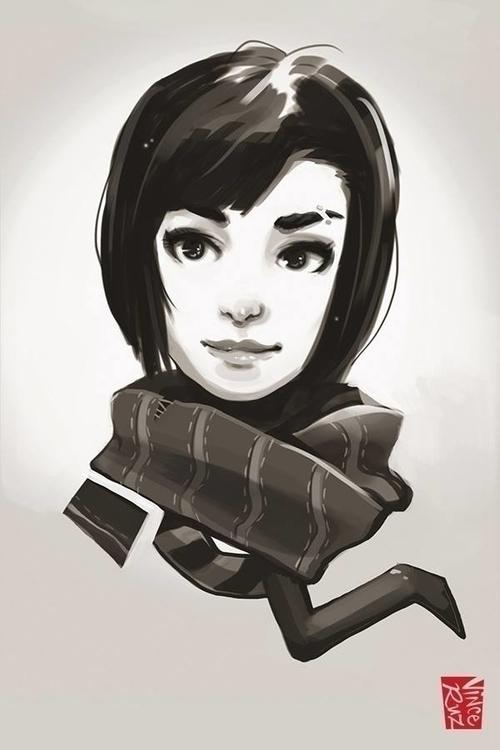 Girl - illustration, sketch, female - vinceruz | ello