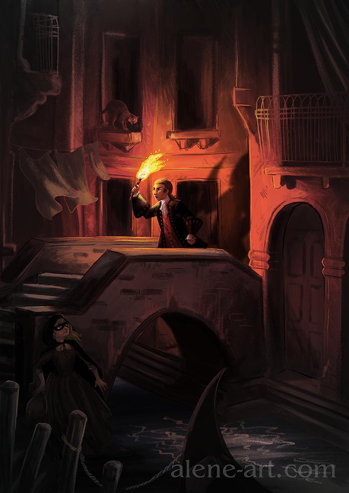 midnight chase streets Venice - illustration - aleneart | ello