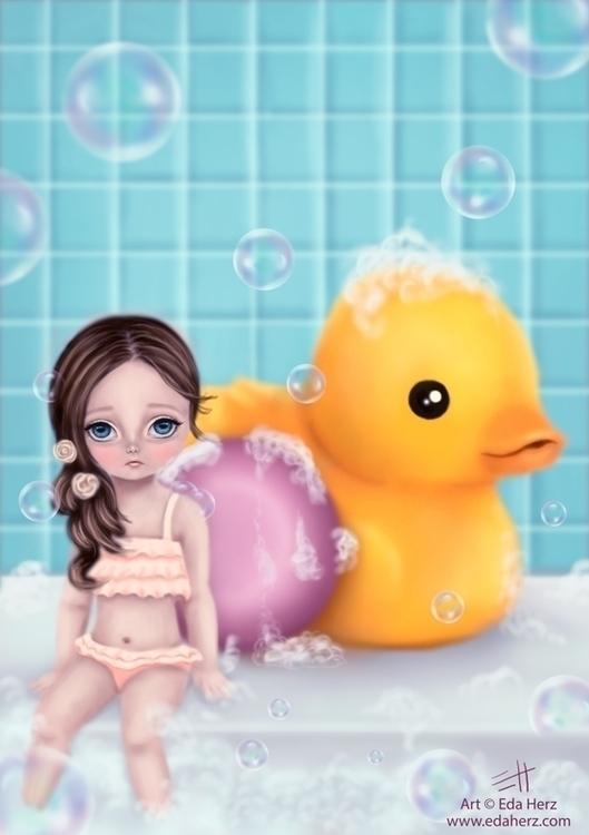 Bubble Bath - illustration, painting - edaherz | ello