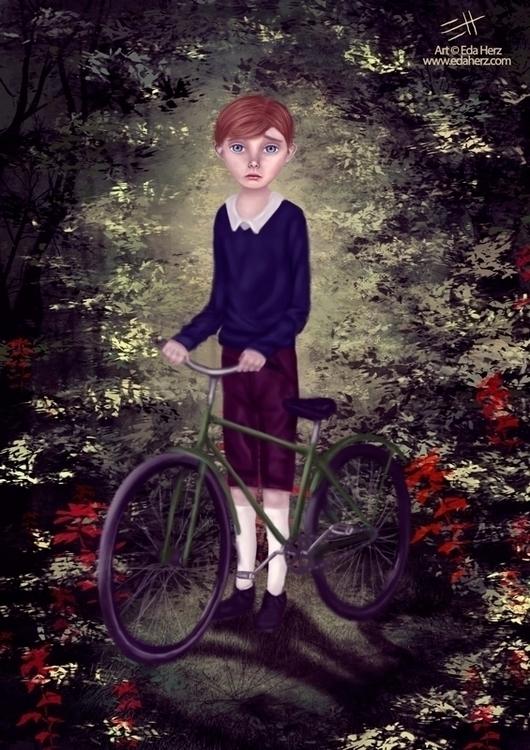 Bicicleta Verde - illustration, painting - edaherz | ello