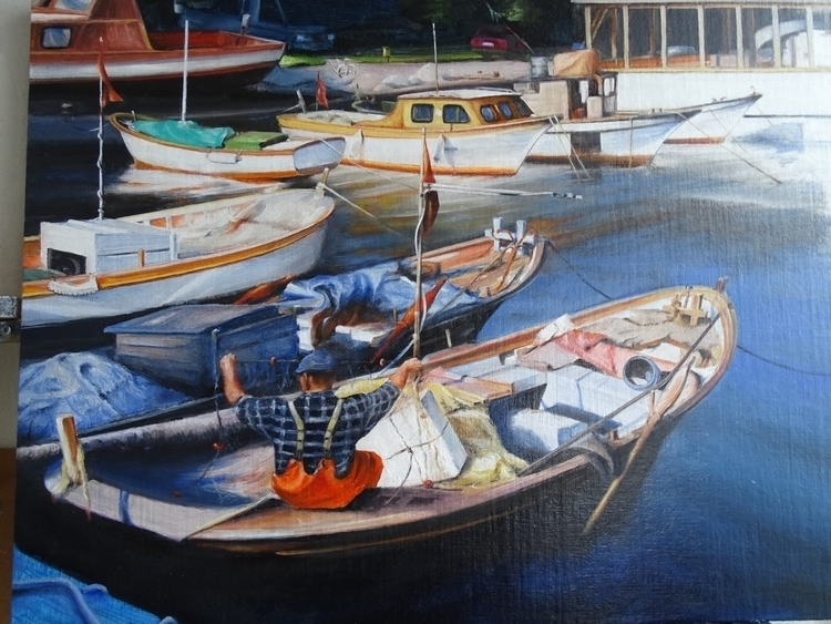 Fishing boats , oil canvas, siz - kamen-1347 | ello