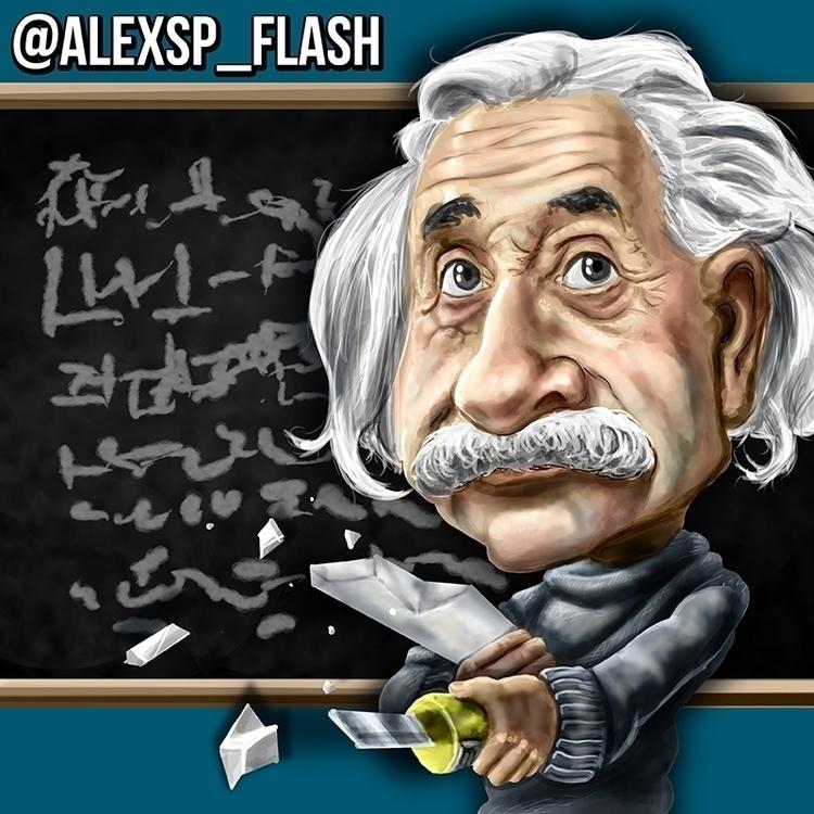 Einstein preparing - illustration - alexsp_flash | ello