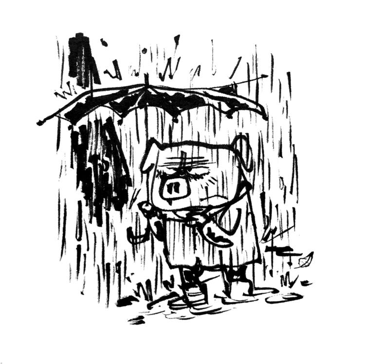 Rainy October - rain, illustration - jonskraentskov   ello