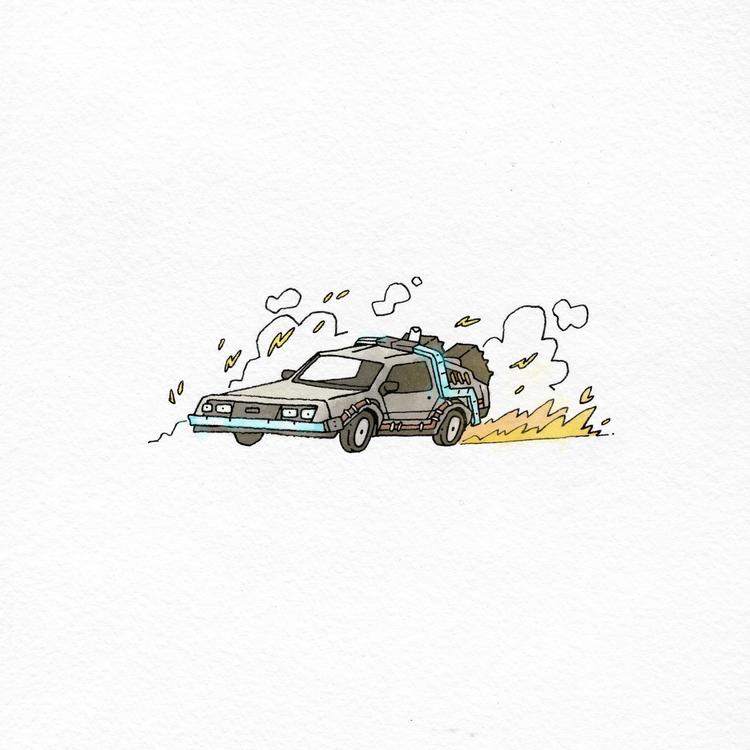 88 MpH - bttfday, illustration, ink - colinbrown-7810   ello