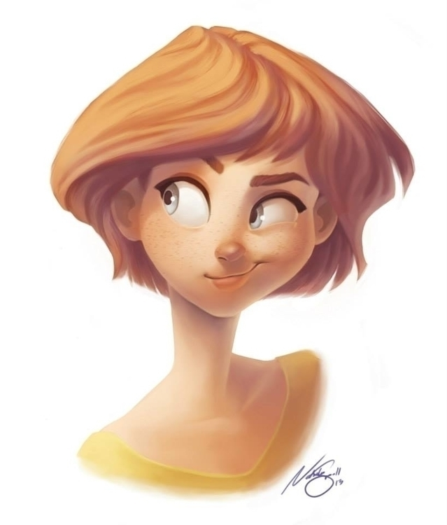 Smirking girl - digitalpainting - natsmall | ello