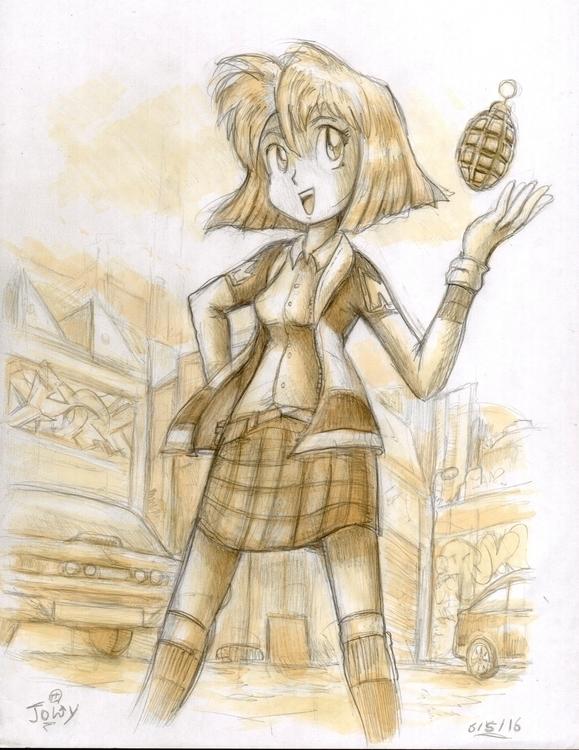 Sketch Minnie manga Gunsmith Ca - jowybeanstudios | ello