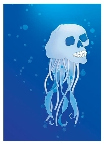 water, sea, ocean, skull, jellyfish - hardknoxcreative | ello