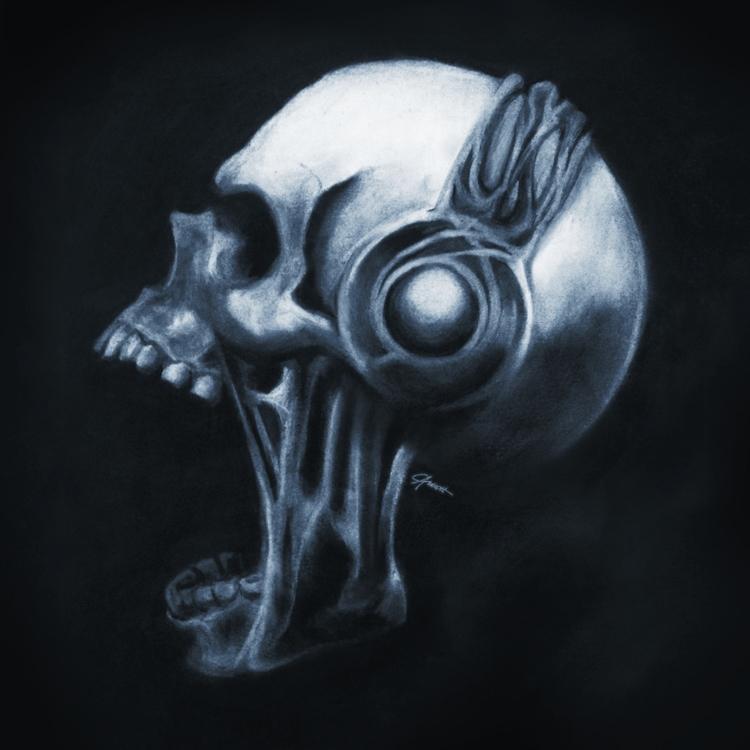 Skull Headphones drawn chalk ch - courtneyaverett | ello