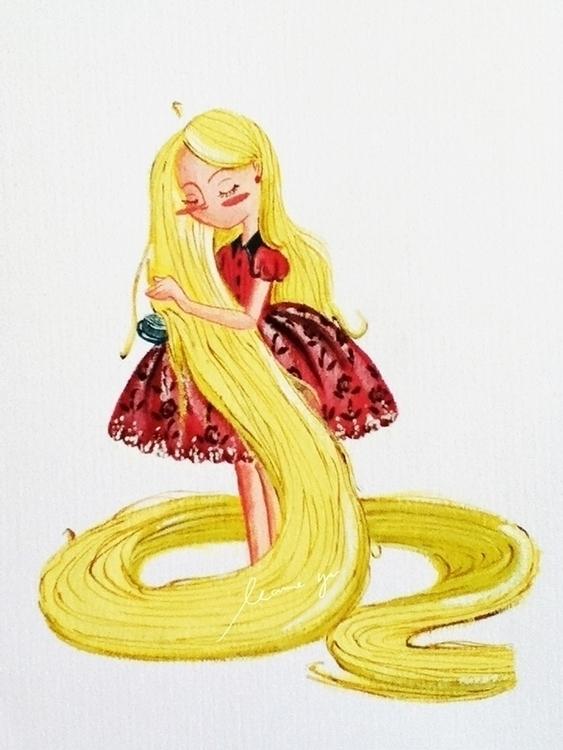 Rapunzel - painting, gouache, art - leannepet | ello