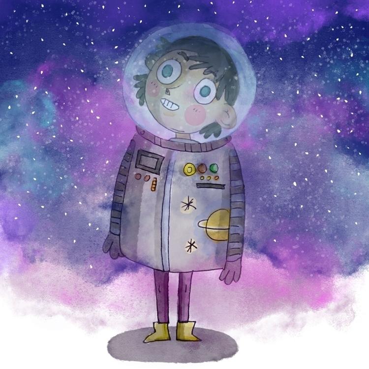 space - spaceman, astronaut, illustration - lucylodraws | ello