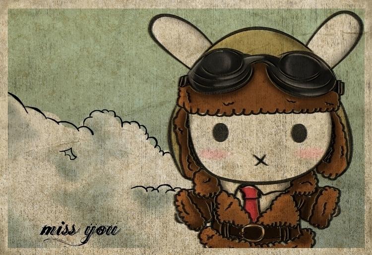 Bunny Pilot - digitalpainting, digitalart - kuukistudio | ello