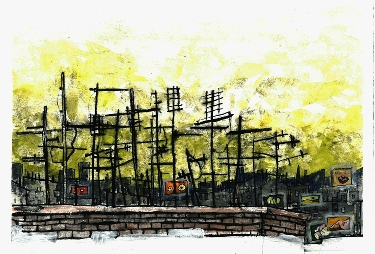 City - illustration, watercolour - camilla-2048 | ello
