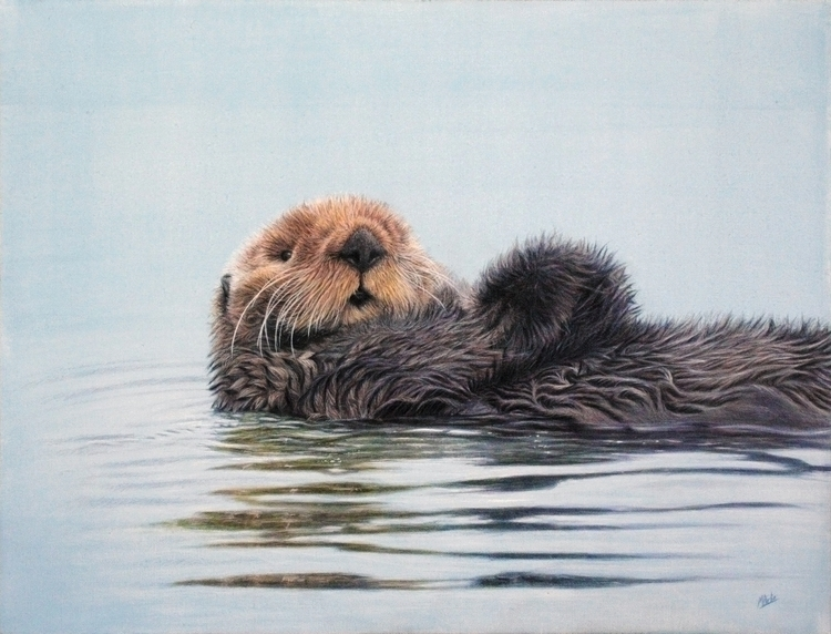 A3 canvas painting acrylics - seaotter - atarial | ello
