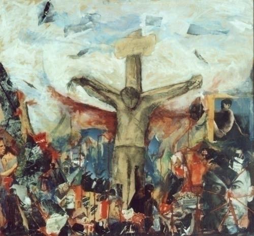 Crucifixion Mixed Media wood pa - zaherbizri | ello