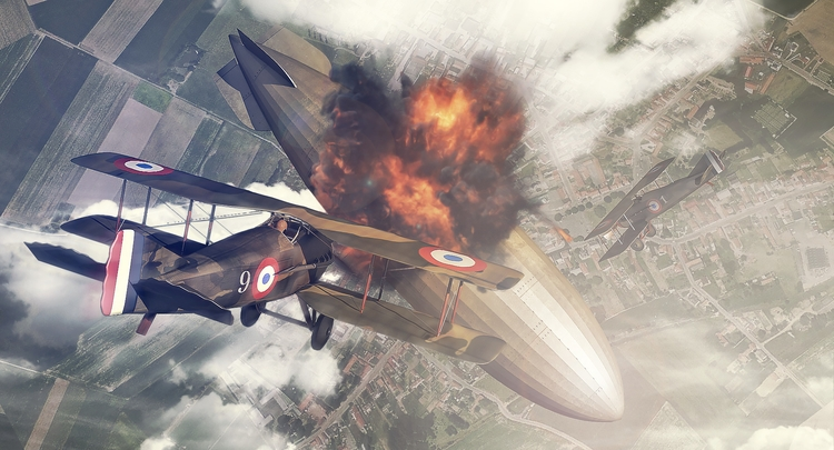 Spad Attack - illustration, ww1 - remytrapp | ello