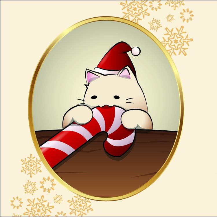 Christmas Candy Cat - illustration - avocatdo | ello