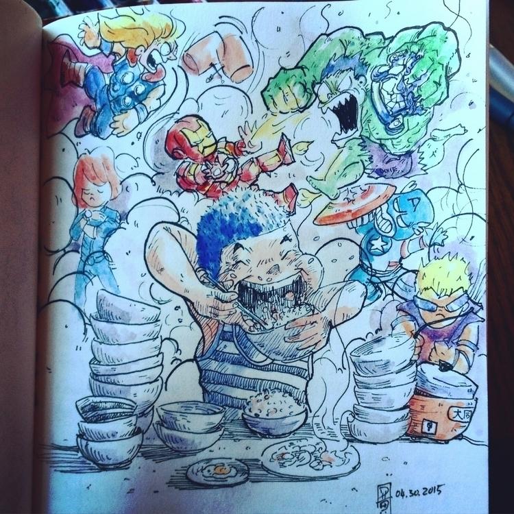 Hunger calls - illustration, watercolor - davidckhuang | ello