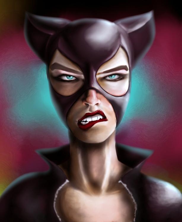 Catwoman - painting, digitalart - selinasage | ello