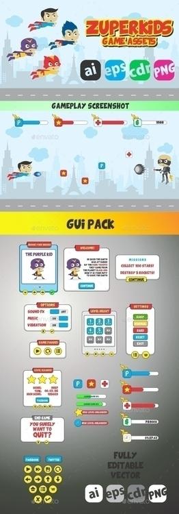 Zuperkids Game Assets GUI Pack - vector1st | ello