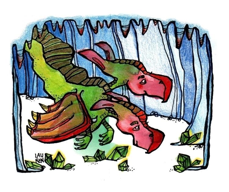 Emerald Dragon Investigates - doodlesmudge - theartoflauren | ello