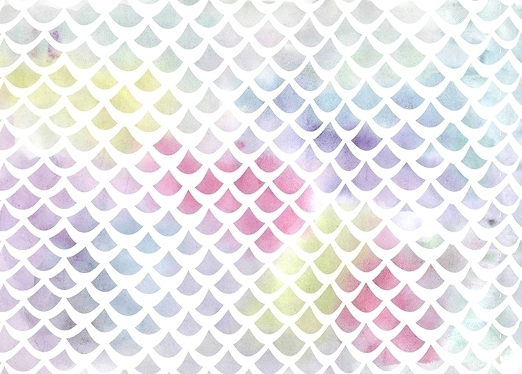 Watercolor fish scale pattern b - gretaberlin | ello