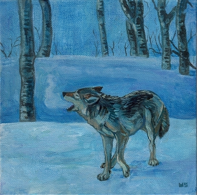 Wolf night - wolf, wolves, painting - hootbark-1142 | ello