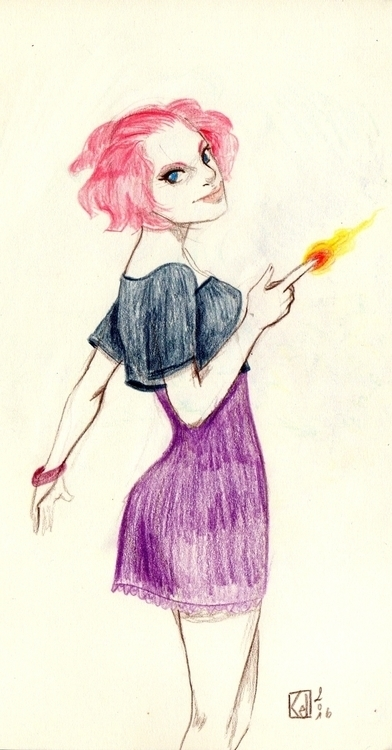 fire, woman, pinkhair - kelhyne | ello