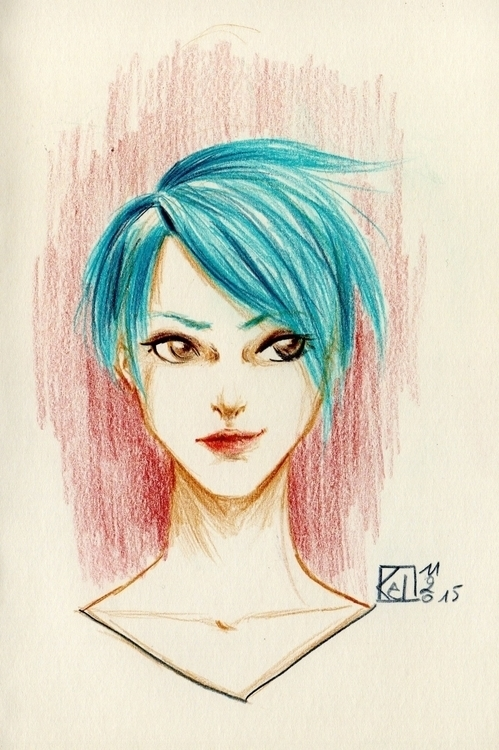 bluehair, womanportrait - kelhyne | ello